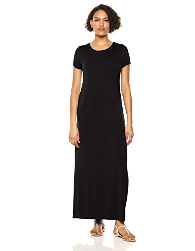 Amazon Essentials Women's Solid Short-Sleeve Maxi Dress, Black, M