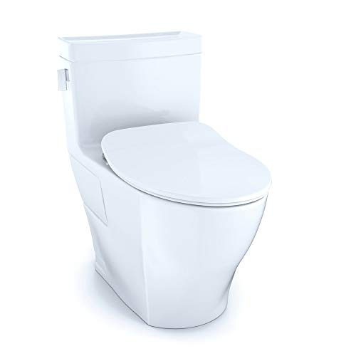 Toto MS624234CEFG Legato 1.28 GPF One Piece Elongated Chair Height Toilet with C, Cotton White