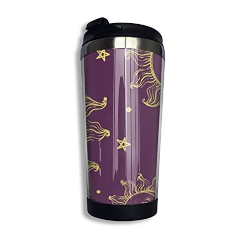 Moda Sol Luna Estrella Taza de café de acero inoxidable taza taza taza de agua para mantener caliente o frío 400 ml/13 oz