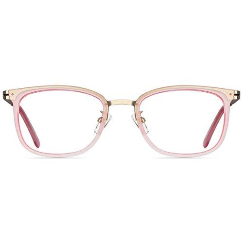 TIJN Retro Quadratische Lesebrille mit Blaulicht Brillen für Damen Herren Mä Metallrahmen Anti-Augenbelastung