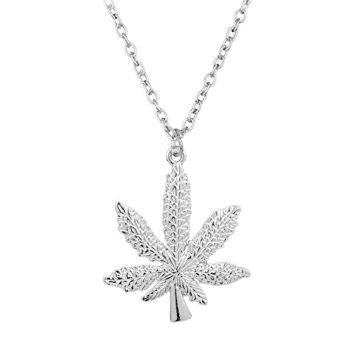 Parkomm Edelstahl Halsketten Marihuana Weed Leaf Anhänger Halskette mit 23,6-Zoll-Kette