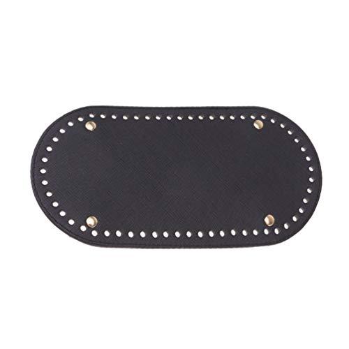 Healifty Stricken häkeln pu Ledertasche bodenformer Kissen handgewebte Tasche pad (schwarz)