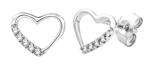 Miore - Pendientes de plata de ley con diamante (.07) con cierre de mariposa a presión