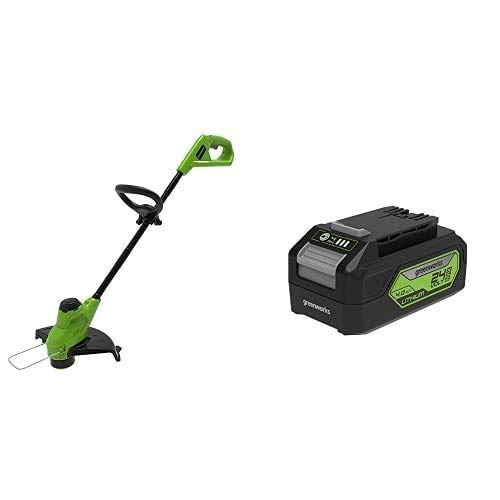 Greenworks Tools G24LT25 String Recortadora de césped, 24 V, 25cm + Tools G24B4 Batería de 24 V, 4.0Ah GEN 2 + Cargador universal Gen 2, 24V 2A