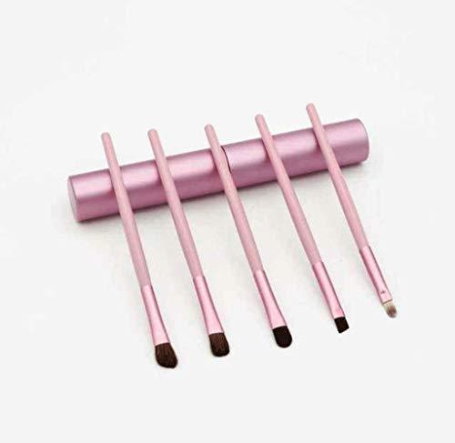 Pinceaux Maquillage 5pcs maquillage des yeux brosse cylindre maquillage set brosse tube en aluminium baril poney brosse ombre à paupières