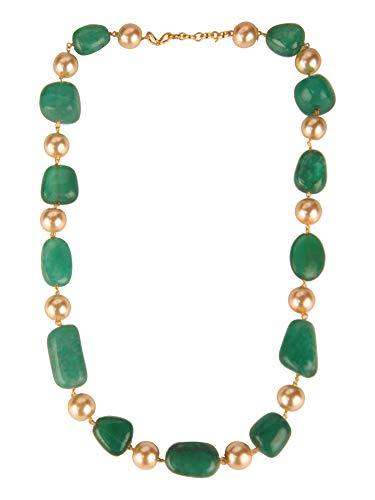 Efulgenz Indian Bollywood Green Emerald Tourmaline Pearl Beaded Strand Bridal Necklace Wedding Jewelry