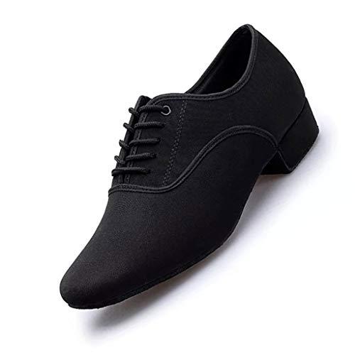 LPZ Zapatos de Baile Latino Zapatos de Cuero Transpirables y Transpirables Zapatos de Baile Modernos Zapatos Latinos para Hombres Salón de Baile, Tango, vals vienés (Color : Negro, Tamaño : 41 EU)