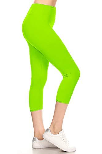 LYCPR128-NEONGREEN Yoga Capri Solid Leggings, One Size