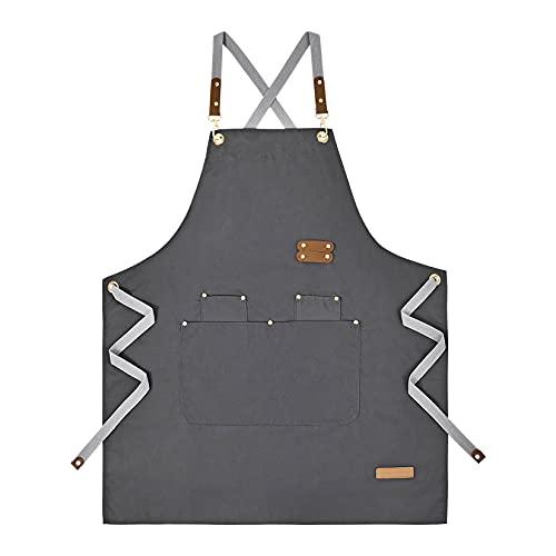 Tongliang Schürze Segeltuch Kochschürze mit Tasche Verstellbare mit Tasche Küchenschürze Damen und Männer Latzschürze zum Kochen oder Backen Grau