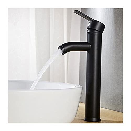 JIAN Faucets de Lavabo de baño de Acero Inoxidable Matt Black Single Handle Frío Hot Mezclador Fregadero Tapón de un Solo Orificio Montado Lavado de Lavado Toque Exquisite (Color : Black Tall)