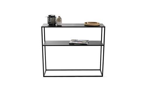 LIFA LIVING Konsolentisch mit 2 Böden, Stabiler Beistelltisch aus schwarzem Metall, Kommode für Wohnzimmer und Flur, 100 x 30 x 85 cm, max. 14 kg