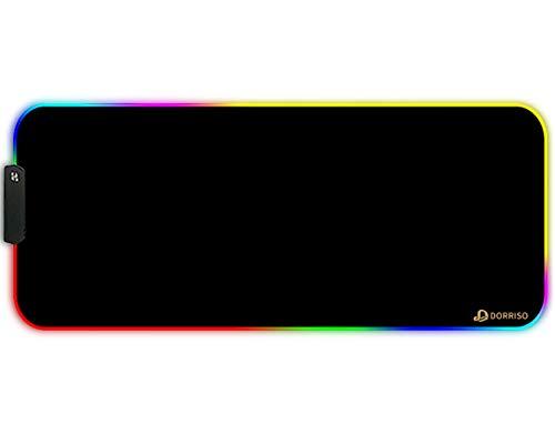 DORRISO RGB Alfombrilla de Ratón Juegos Grande XLL 900 x 400 x 3 mm Gaming Alfombrilla Raton Impermeable con Base de Goma Antideslizante para Gamers Ordenador PC y Laptop Mouse Pad Negro