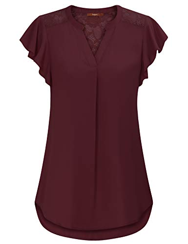 Gaharu Lace Blouse, Flutter Sleeve Tops Round Neck A Line Curve Hem Tunic Tees Ruffled Casual Easy Fit Basic Going Out Summer Shirts Dark Red,Large