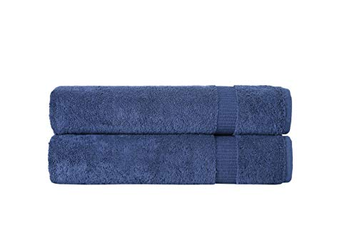 SALBAKOS Turkish Luxury Hotel & Spa, 35x70 Bath Sheet Set of 2 (Navy)