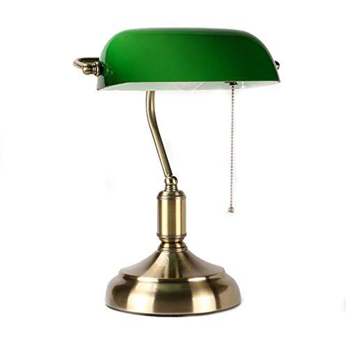 Guancy Tischleuchte Bankers Lamp grün mit Zugschalter Gestell antik Messing Schirm grün Schreibtischlampe Arbeitsleuchte antik Retro Nostalgie