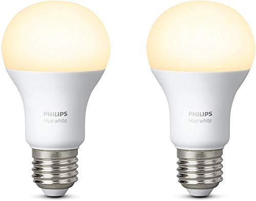 Philips Hue Ampoules Connectées Blanc E27 - Fonctionne avec Alexa, Lot de...