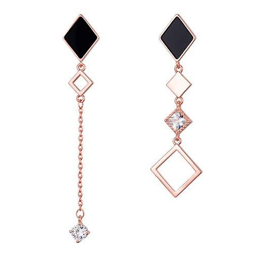 Orecchini pendenti geometrici asimmetrici lunghi da donna Ciondolo in cristallo argento dorato Regalo di gioielli di moda Oro rosa