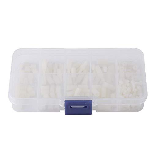 200 stuks M2.5 Male-Female Hex nylon spacer standoff schroef moeren moederbord assortiment kit monteren met kunststof doos