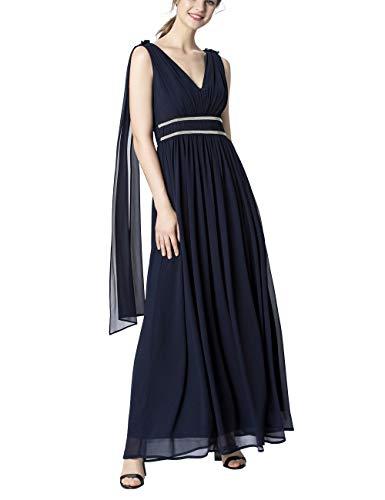 APART Damen Abendkleid mit Chiffon-Schals, Nachtblau, 40