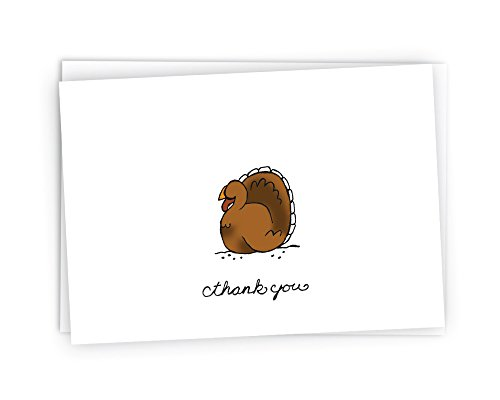 Gobble Gobble Turkey Thanksgiving Cards - 24 Thank You Cards & Envelopes
