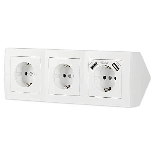 Steckdose 3-fach + 2x USB für Küche und Büro – Schreibtischsteckdose in weiß aus hochwertigem Kunststoff ideal für Arbeitsplatte, Tischsteckdose oder Unterbausteckdose mit 3 Steckdosenelement