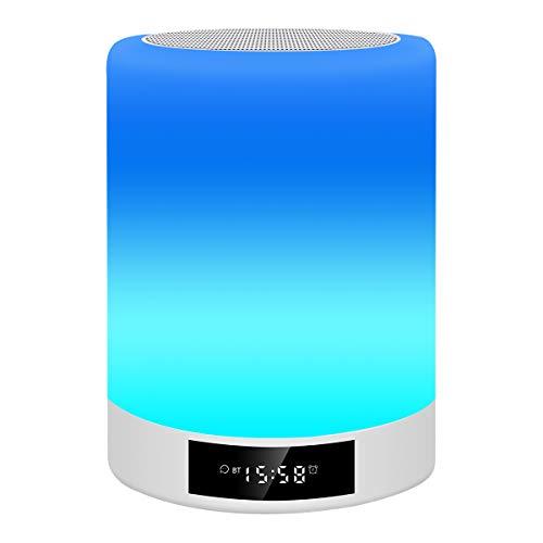 LED Nachttischlampe, Macrimo Nachtlampe Nachttischleuchte Stimmungslicht mit Touch Sensor/Wecker/Uhr/FM/TF Karte Slot,7 Farbwechsel dimmbar für Schlafzimmer Kinder