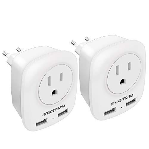 EtekStorm 2 Pack European Plug Adapter International Power Adaptor with 2 USB Ports 2 American Outlets- 4 in 1 european