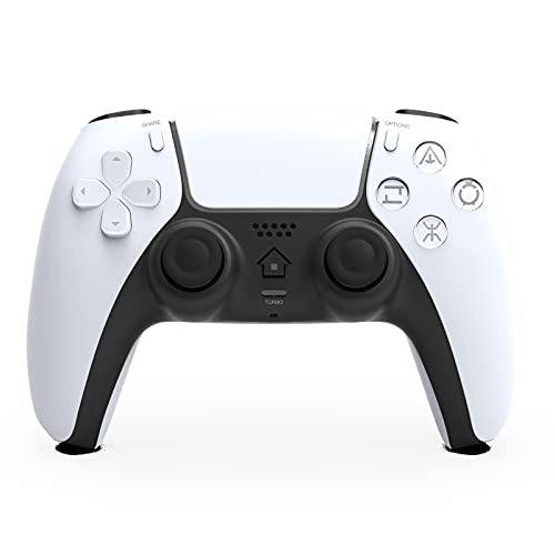 【非純正品】 Dual-Sense用 ワイヤレスコントローラー PS4 コントローラー TURBO ブラック&ホワイト (Mimaill T28)
