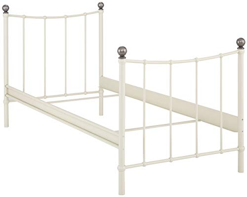 Loft24 A/S Bett Metallbett Bettgestell Gästebett Doppelbett Kinderbett Jugendbett Metall Schlafzimmer (Creme weiß, 90 x 200 cm)