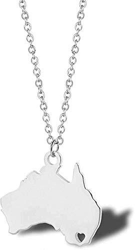 Collana in acciaio inossidabile Collana con mappa dell'Australia Collana a forma di cuore della prefettura dell'Oceania Best Friends Moving House Collana regalo di gioielli