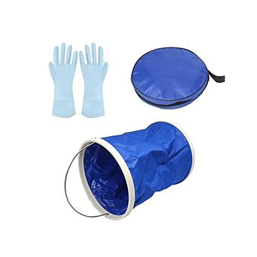 Gojiny Juego de Cubo Plegable Portátil con Guantes de Limpieza Y Cubo Plegable Lona Impermeable Cubo Plegable Cubo Plegable Almacenamiento de Agua para Camping Pesca en Bote