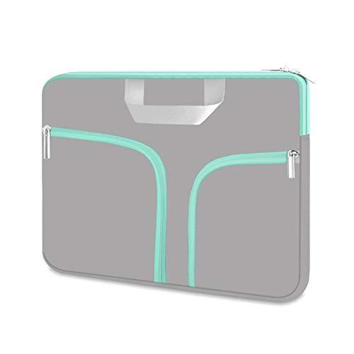 "HESTECH Chromebook Case, 11.6-12.3 inch Neoprene Laptop Sleeve Case Bag Handle for Acer r11 /Spin 311/HP Stream/Samsung/MacBook Air 11/ Microsoft Surface Pro X/7/6/5/4/3/2/1 /Go-12.4"",Gray+Green -  B11C109/LZLFBA-KT"