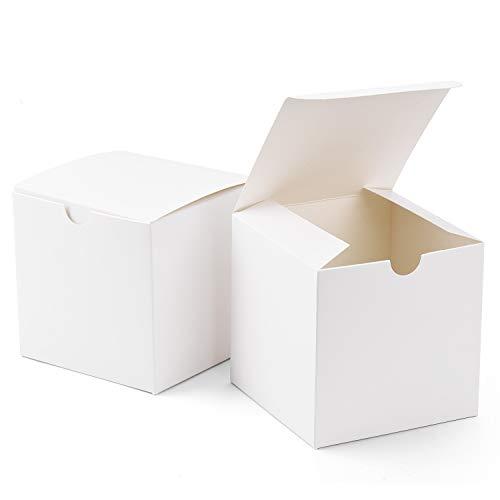 Switory Scatole Regalo 50 Pezzi 10x10x10cm, scatole Regalo di Carta Kraft con coperchi per Artigianato, Cupcake, scatole di Cartone per proposta di Damigella d'Onore, bomboniera Bianca