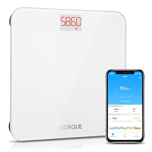Liorque Personenwaage Digital Waage Bluetooth mit APP Tracking Gewichtes Änderung Smart Step-On Technologie Waage Digital mit Gehärtetem Glas Waage, BMI, 180 kg, Weiß