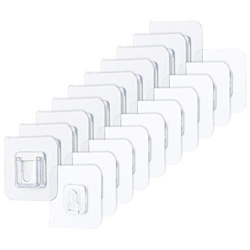 Prevessel 10 ganchos adhesivos transparentes – Gancho adhesivo que no deja marcas – Gancho transparente para colgar en la pared – Ganchos para colgar en la puerta – Resistente al agua y al aceite
