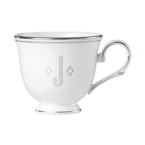 Lenox Federal Platinum Block Monogram Dinnerware Teacup, J
