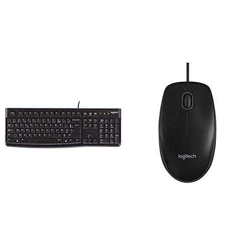 Logitech K120 Wired Keyboard - Black & B100 Wired USB Mouse, 3-Buttons, Optical Tracking, Ambidextrous PC/Mac/Laptop - Black