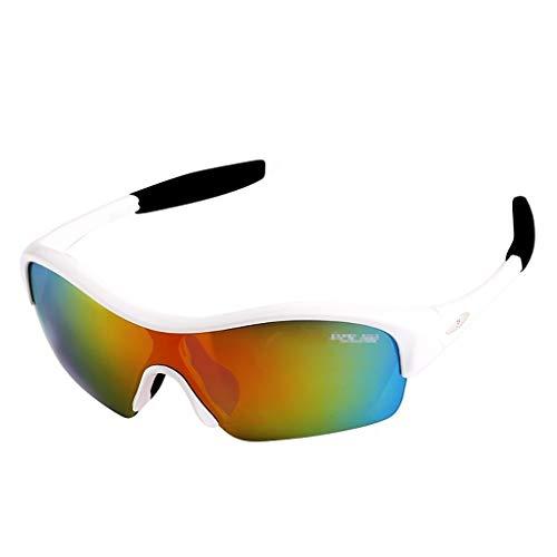 N/T FS Kinder Fahrradbrille, Kinder Polarisierte Sportbrille Mit 5 Wechselgläsern, UV400 Augenschutzbrille Unzerbrechlicher Rahmen Für Jungen Mädchen Laufen Angeln Skifahren (Color : Colorful White)