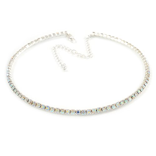 Avalaya Thin AB Top Grade Austrian Crystal Choker Necklace in Rhodium Plated Metal - 36cm L/ 10cm Ext