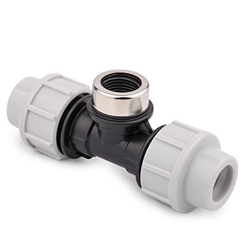 """Conector de tubo de agua MDPE con 3 salidas hembra/abrazadera/conexión de té para tubos de PE (20 mm x 1/2"""" hembra x 20 mm)"""