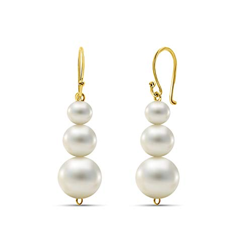 Miore freshwater pearl drop earrings with hook in 14 kt 585 yellow gold for women, length 30 mm