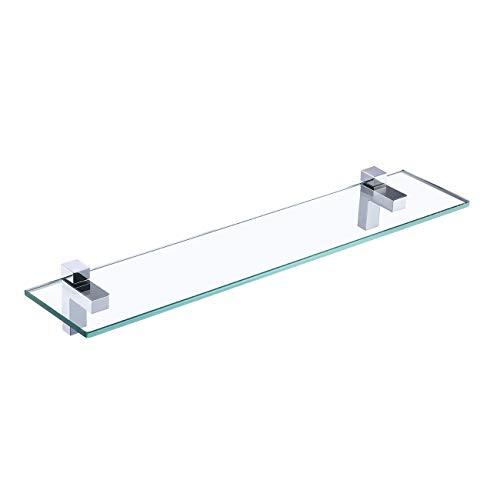 Amazon Brand - Umi Estante de Baño Estante de Vidrio Estante de Ducha de Vidrio Templado de 60 CM 8MM Accesorios Baño Cromo Pulido Montado en La Pared, BGS3201S60