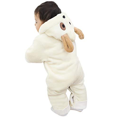 MRULIC MRULIC Schöne Kaninchen Bär Ohren Baby Crawlen Mantel Winter Playsuit Dicker Mantel Warmen Overall Outfit Outwear Mädchen Jungen Baumwollmantel Plüschjacke(A-Weiß,55-60CM)