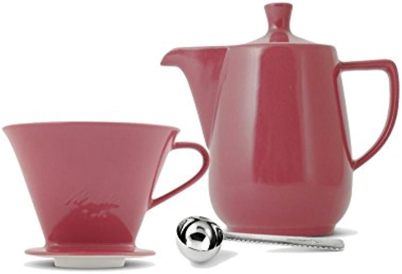 Friesland Melitta Kaffeefilter 102 1 Loch Porzellan bordeaux + Kaffeekanne 0,6L + Kaffeemalffel