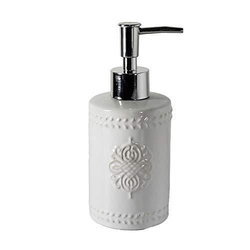 takestop Dispenser Porta Sapone Liquido in Ceramica Bianca con Decorazione in Rilievo 17x7 Cm