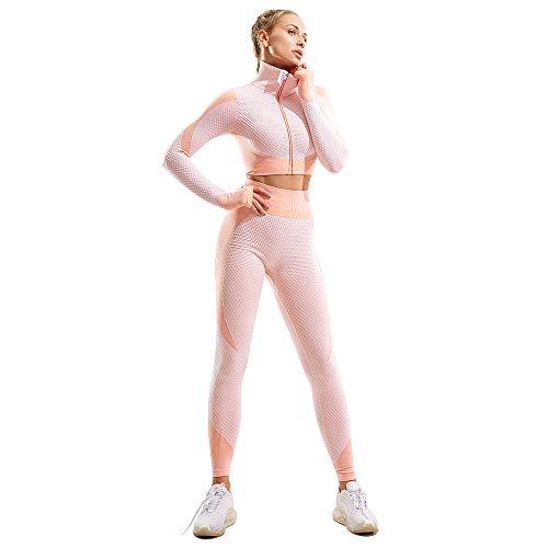 Conjuntos de treino femininos para ioga, conjunto de calça de manga comprida com abertura frontal para o polegar e zíper, 2 Piece: - White-pink, Medium