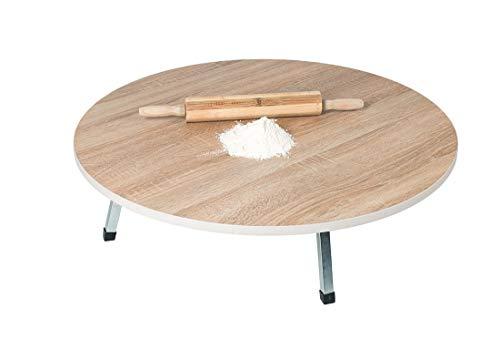 Mesa de cocina tradicional para cortar yufka, madera y mármol, mesa plegable con patas de metal, tamaño 50 cm, color madera