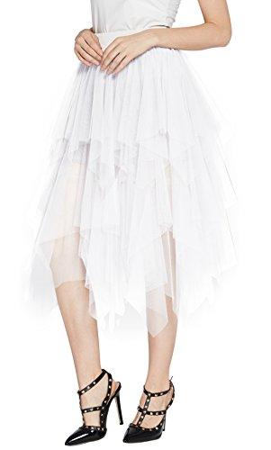 Urban CoCo Women's Sheer Tutu Skirt Tulle Mesh Layered Midi Skirt (XL, White-2)