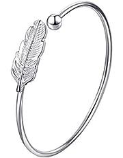 Nowakk Sterling zilveren armband veer armband vrouwen stijl verse mode-sieraden sterling zilveren sieraden cadeau - zilver
