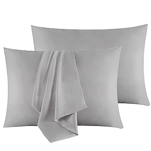 """Sutuo Home Silk Pillowcase 2 Pack 100% Mulberry Silk Pillow Cases for Hair and Skin Both Sides 19 Momme Natural Silk Pillow Cover Super Soft and Smooth Standard 20""""x26"""" Light Grey"""